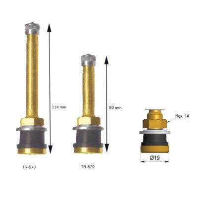 Válvula de camión para llanta 385/22.5 recta orificio Ø16mm